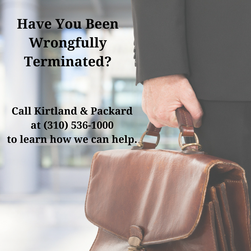 Have you been terminated from your job illegally? call 310-536-1000 for a free consultation with the award-winning South Bay employment law attorneys at Kirtland & Packard, LLP