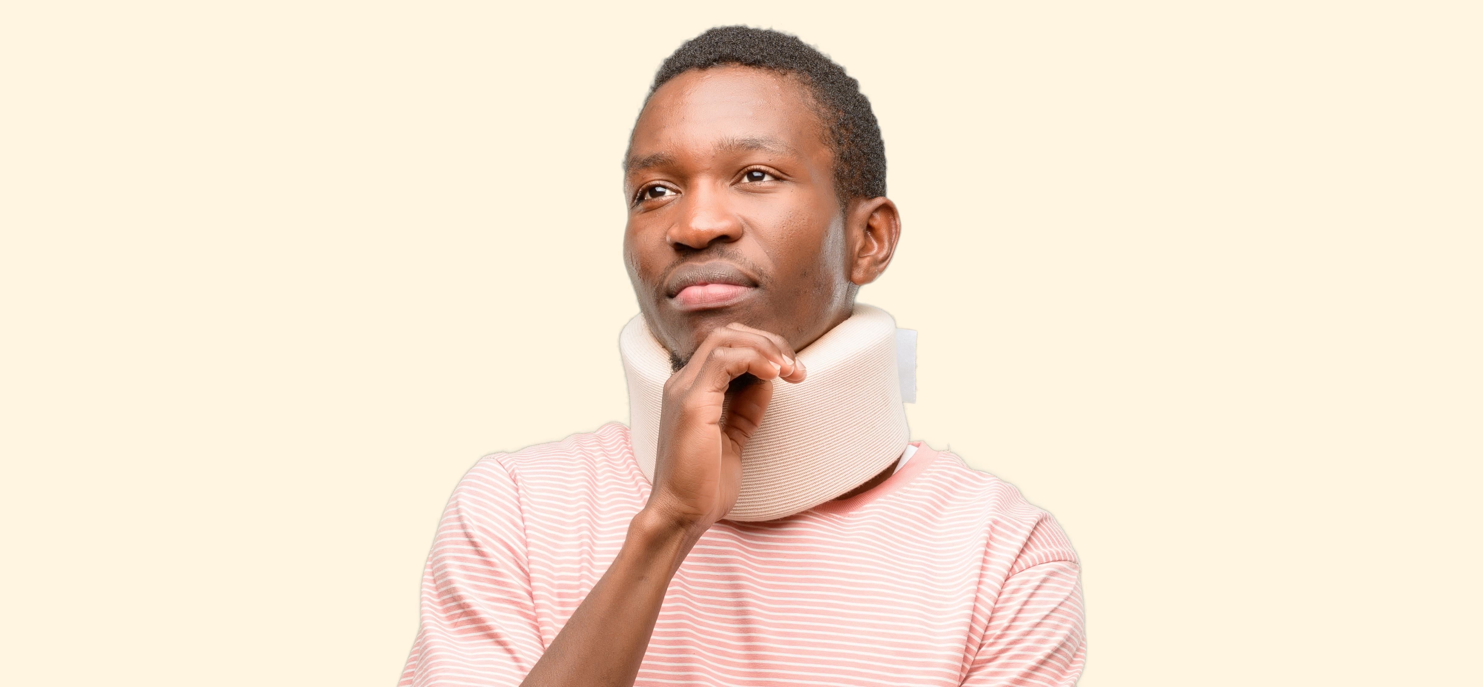 Man in neck brace wondering