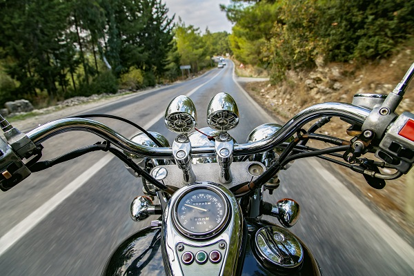 First-person view of motorcycle handlebars